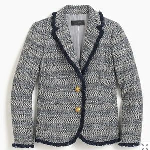 J.CREW 2 Lady Jacket Blazer Fringe Hem Blue Tweed